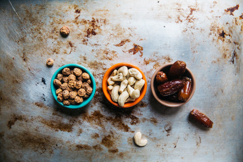 healthy seeds and nuts in bowl on table