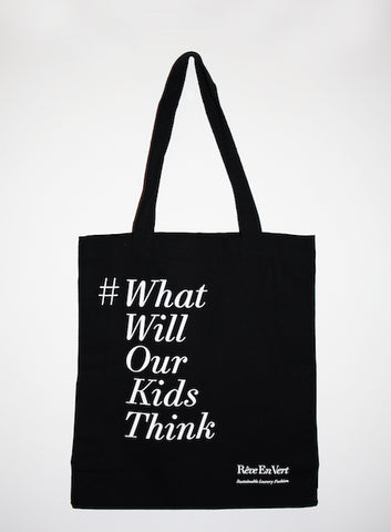 what will our kids think tote bag