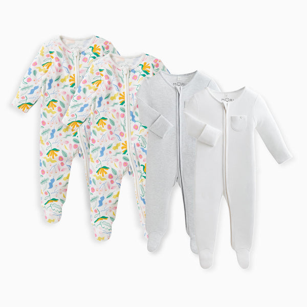 Bloom Zip-Up Sleepsuit 4-Pack