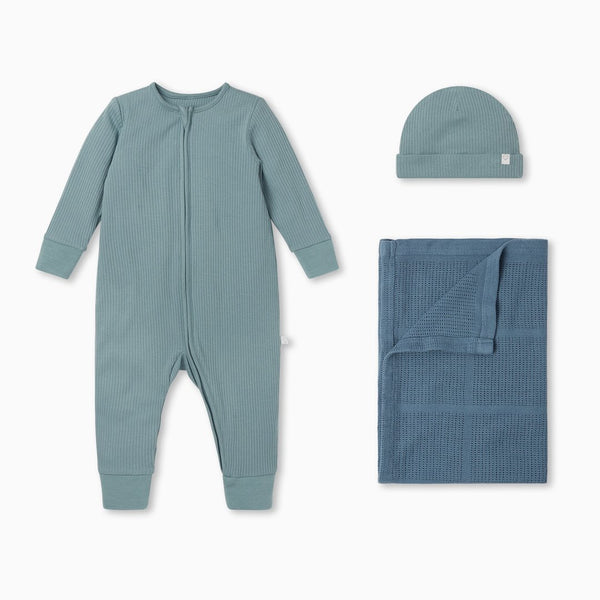 Ribbed Zip-Up Sleepsuit & Accessory Set