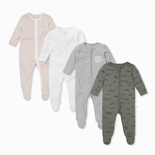 Blush & Khaki Zip-Up Sleepsuit 4 Pack