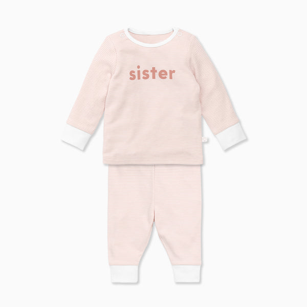 Blush Stripe Sister Slogan Pyjamas