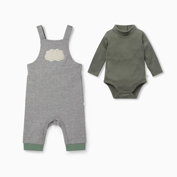 Cloud Dungarees & Roll Neck Bodysuit Outfit