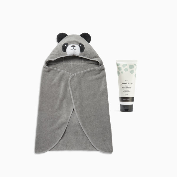 Cowshed Baby Body Wash & MORI Panda Hooded Towel Set