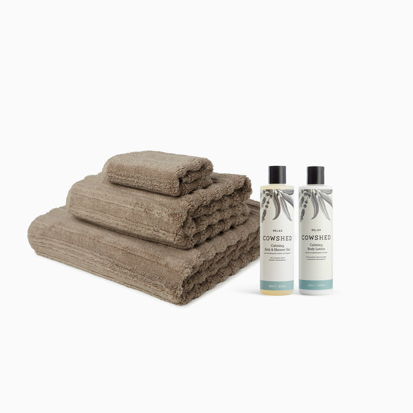 MORI Towels and Cowshed Relax Bath & Body Set