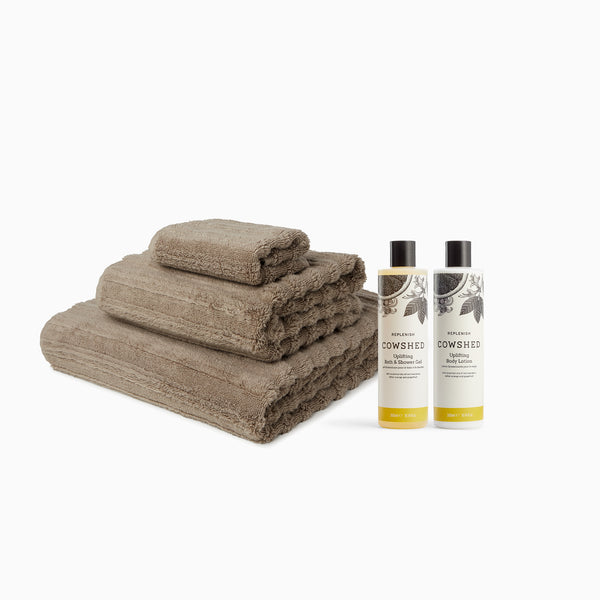 MORI Towels and Cowshed Replenish Bath & Body Set