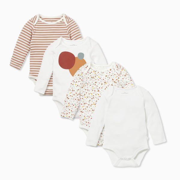Caramel  Stripe & Pebble Long Sleeve Bodysuit 4 Pack