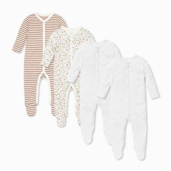 Caramel Stripe Front Opening Sleepsuit 4 Pack
