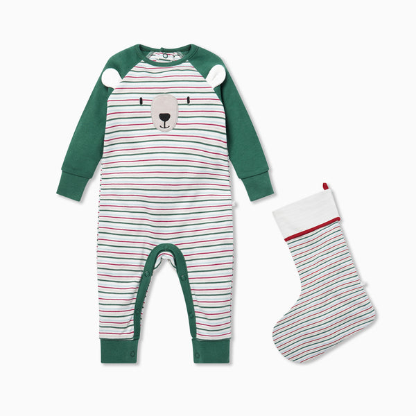 Sleepy Bear Back Opening Sleepsuit & Stocking Set