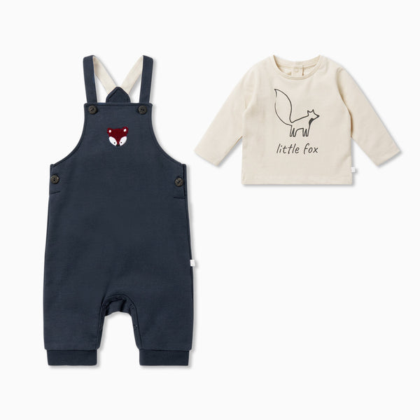 Fox Dungarees & Long Sleeve T-Shirt Outfit