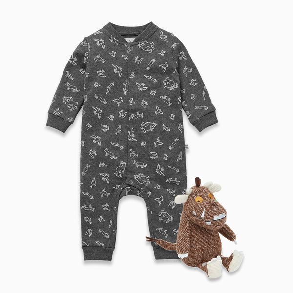 Gruffalo Stone Grey Jumpsuit & Rattle Play Set