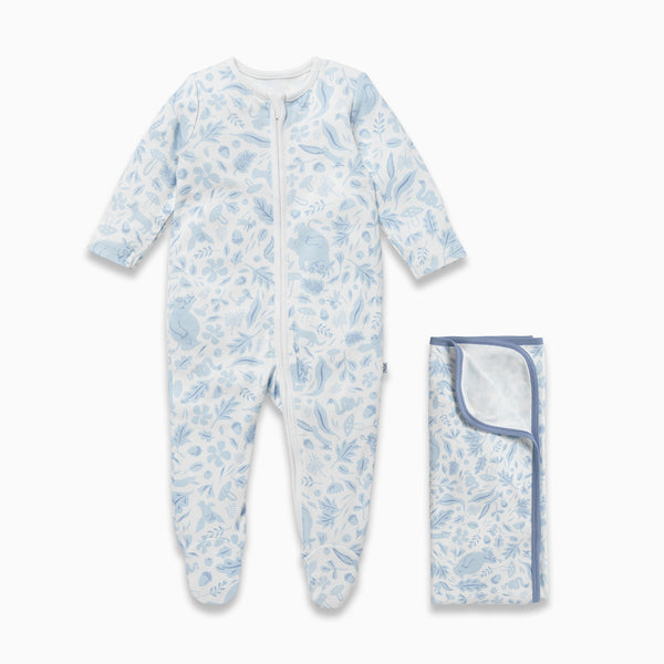 Gruffalo Dragonfly Blue Zip-Up Sleepsuit & Blanket Set