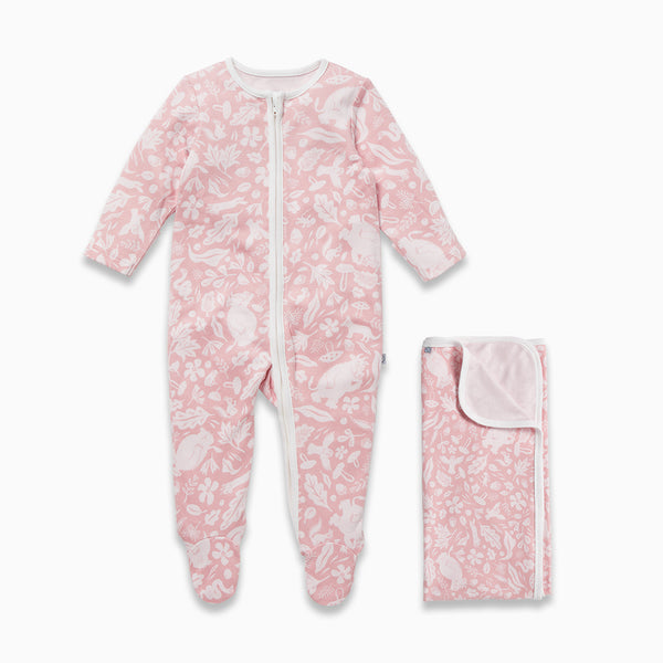 Gruffalo Foxglove Pink Zip-Up Sleepsuit & Blanket Set