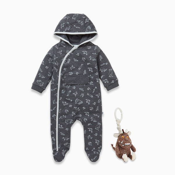 Gruffalo Stone Grey Snugsuit & Pram Rattle Set