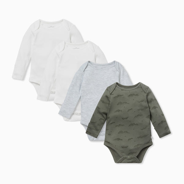 Khaki Cloud Long Sleeve Bodysuit 4 Pack