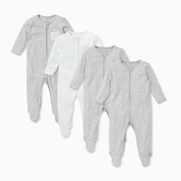 Grey & White Stripe Zip-Up Sleepsuit 4 Pack