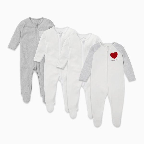 Kind Raglan Sleeve Zip-Up Sleepsuit 4 Pack