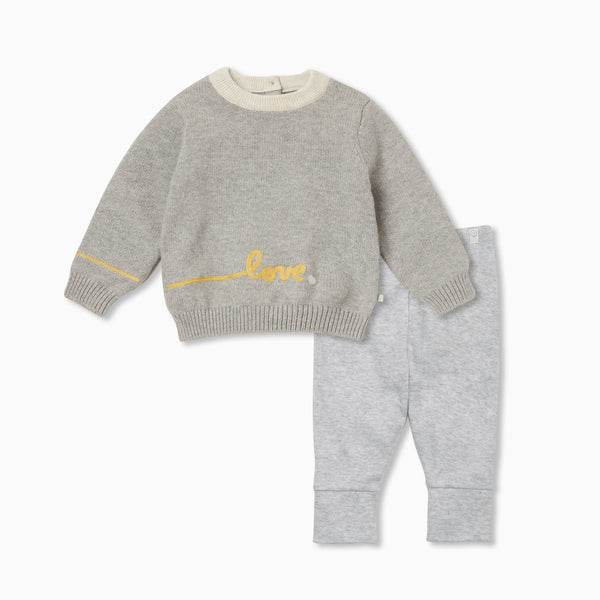 Knitted Slogan Jumper & Leggings Outfit