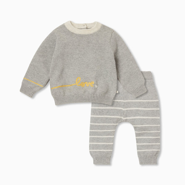 Knitted Slogan Jumper & Stripe Joggers Outfit