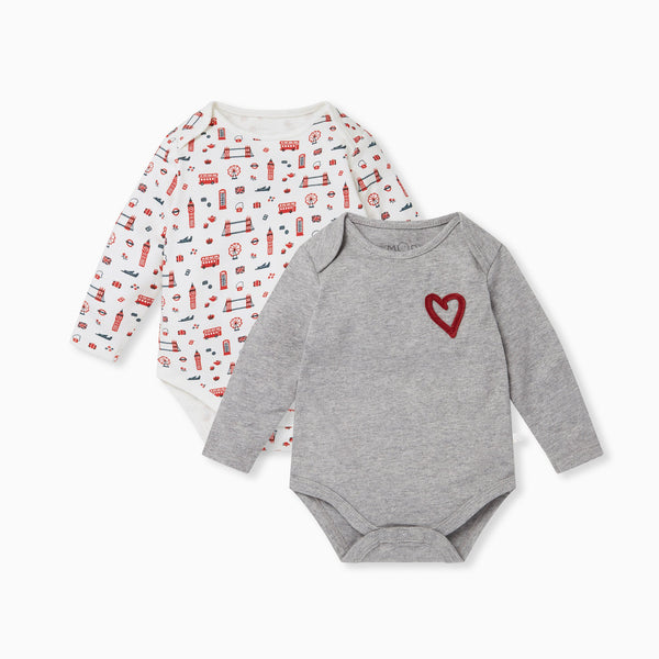 Little London Long Sleeve Bodysuit 2 Pack