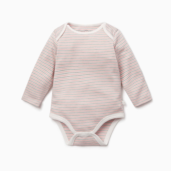 Blush & Khaki Stripe Long Sleeve Bodysuit