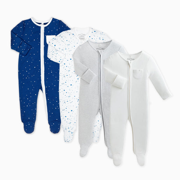 Night Sky Zip-Up Sleepsuit 4 Pack