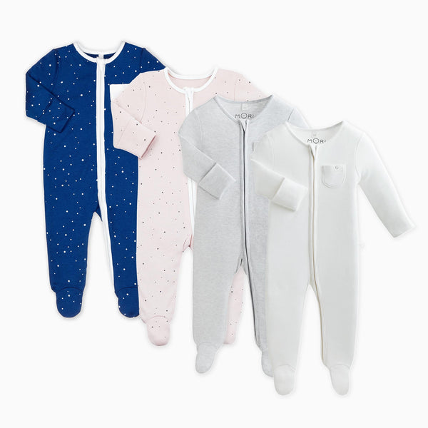 Night Sky Zip-Up Sleepsuit 4-Pack