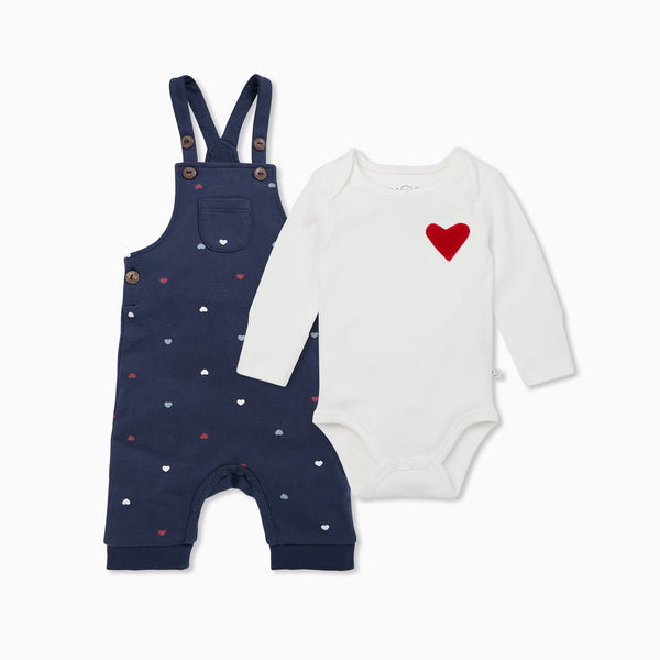 Hearts Dungaree & Bodysuit
