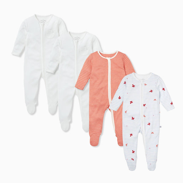 Ocean & Coral Zip-Up Sleepsuit 4 Pack