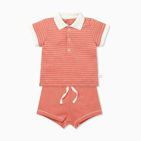 Coral Polo Shirt & Shorts Set