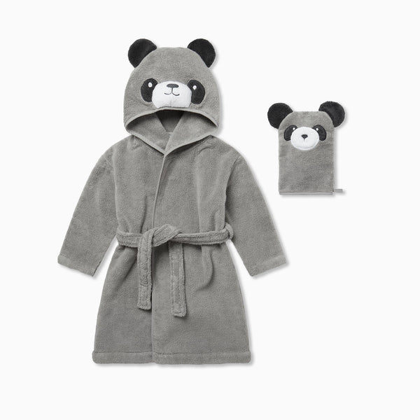 Panda Hooded Bath Robe & Mitt Set