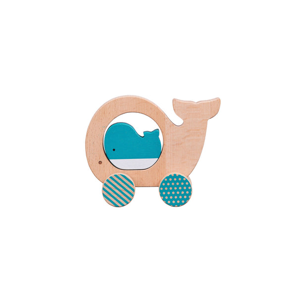 Petit Collage Wooden Whale Push Along Toy