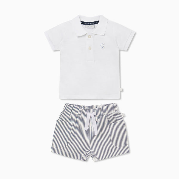 Polo Shirt & Striped Shorts Outfit