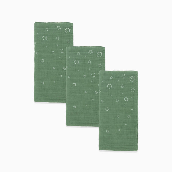 Green and Red Pre-Washed Regular Muslins 3-Pack