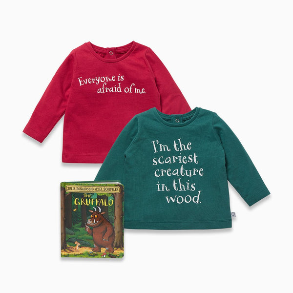 Fox Red T-Shirt, Leaf Green T-Shirt & The Gruffalo Book Set