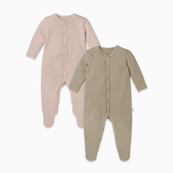 Ribbed Front Opening Sleepsuit 2 Pack