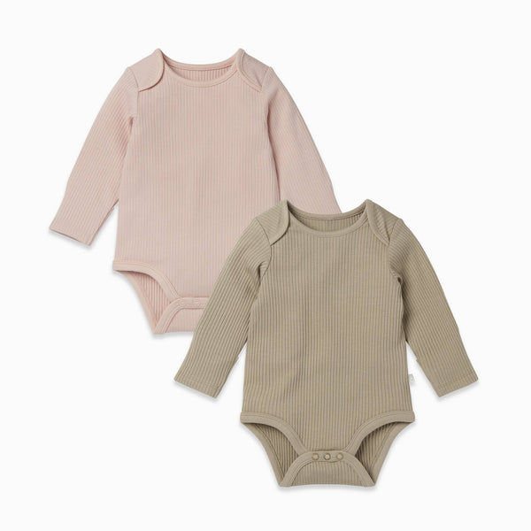 Ribbed Long Sleeve Bodysuit 2 Pack