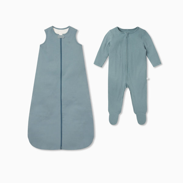 Ribbed Front Opening Sleeping Bag 2.5 TOG & Zip-Up Sleepsuit Set