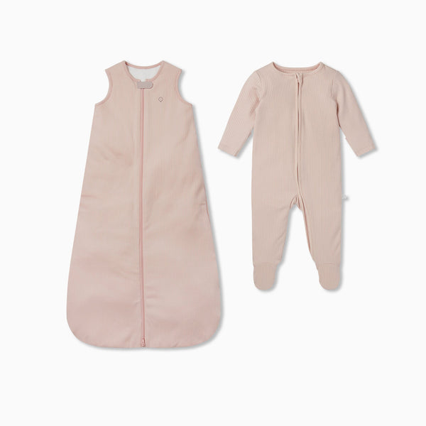 Ribbed Front Opening Sleeping Bag 1.5 TOG & Zip-Up Sleepsuit Set