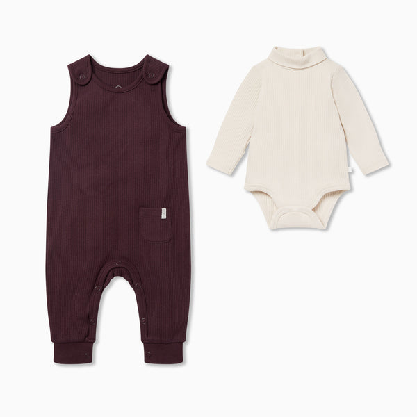 Ribbed Romper & Roll Neck Bodysuit Outfit