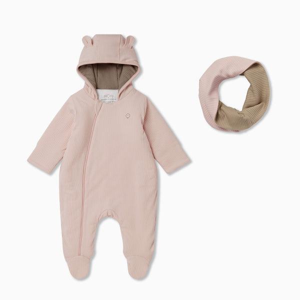 Ribbed Pramsuit & Snood Set