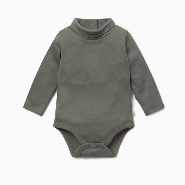 Khaki Roll Neck Bodysuit