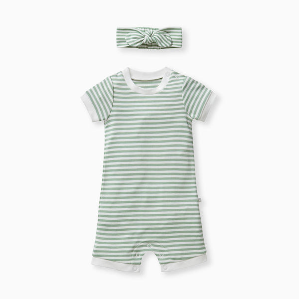 sage baby and toddler summer sleepsuit and headband