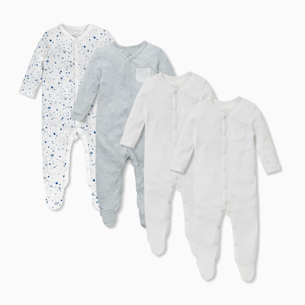 Space Front Opening Sleepsuit 4 Pack