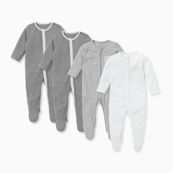Stripey Zip-Up Sleepsuit 4 Pack