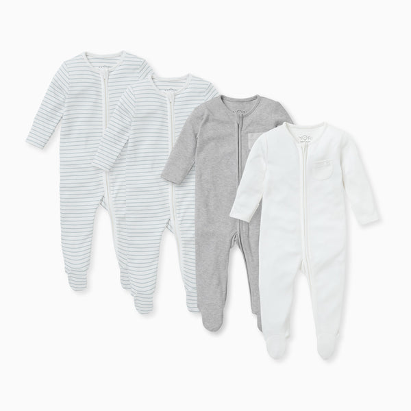 Teal Stripe Zip-Up Sleepsuit 4 Pack