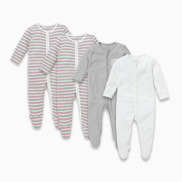Sleepy Stripe Zip-Up Sleepsuit 4 Pack