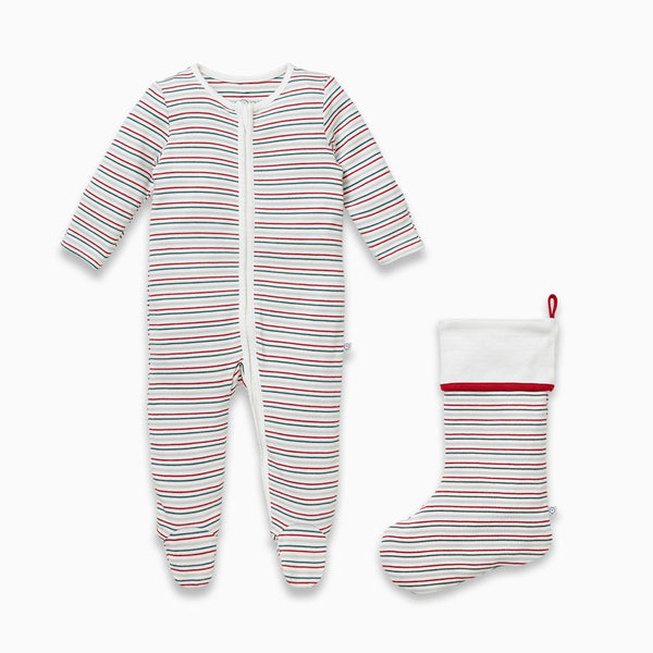 Sleepy Stripe Zip-Up Sleepsuit & Stocking Set