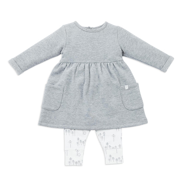 Grey Marl Long-Sleeved Dress and Leggings Set