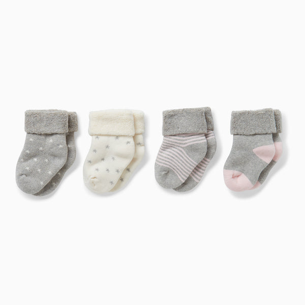 four baby and toddler blush socks